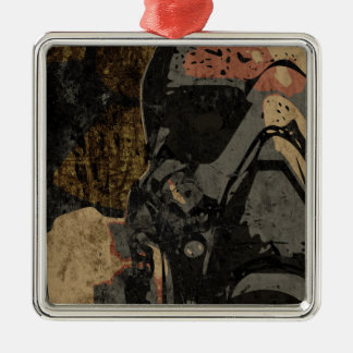 Man with protective mask on dark metal plate Silver-Colored square ornament