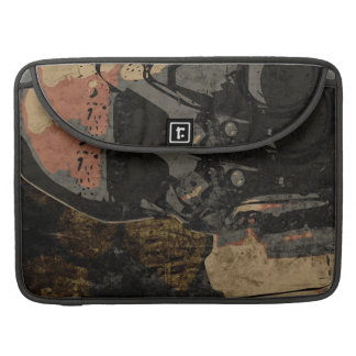 Man with protective mask on dark metal plate sleeve for MacBook pro