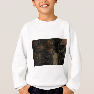 Man with protective mask on dark metal plate sweatshirt