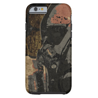 Man with protective mask on dark metal plate tough iPhone 6 case