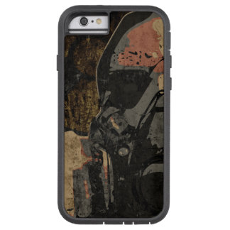 Man with protective mask on dark metal plate tough xtreme iPhone 6 case