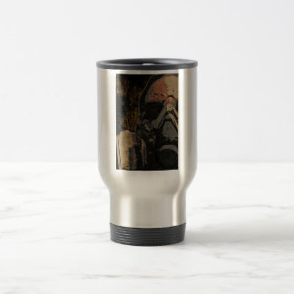 Man with protective mask on dark metal plate travel mug