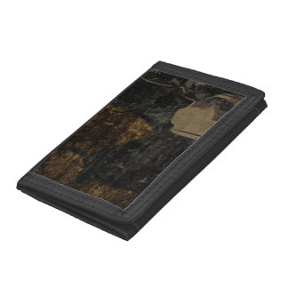 Man with protective mask on dark metal plate trifold wallet