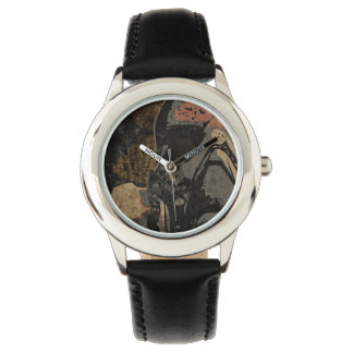 Man with protective mask on dark metal plate watch