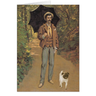 Man with Pug and Parasol Card