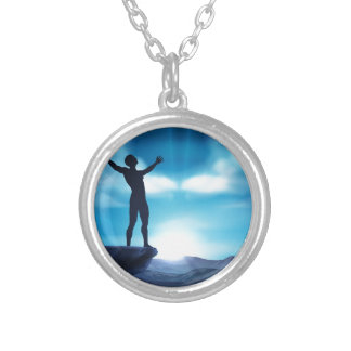 Man With Raised Arms Concept Silver Plated Necklace