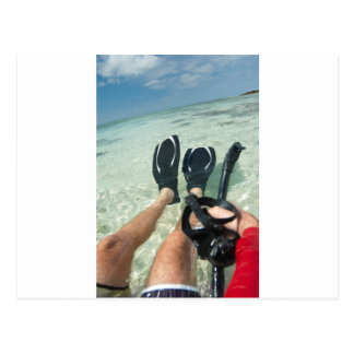 Man with snorkeling equipment postcard