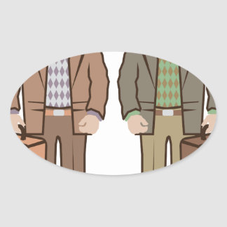 Man with suitcase vector oval sticker