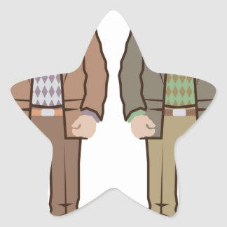 Man with suitcase vector star sticker