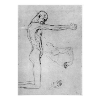 Man with with outstretched arms by Gustav Klimt Poster