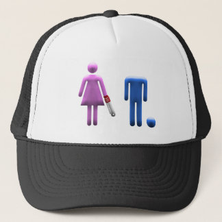 man woman dynamic trucker hat