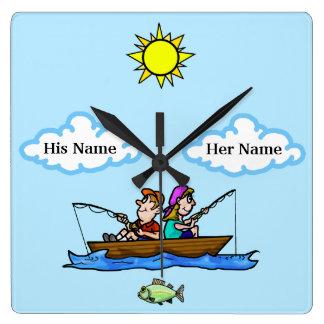 Man & Woman Fishing in Boat Wall Clock Customize!