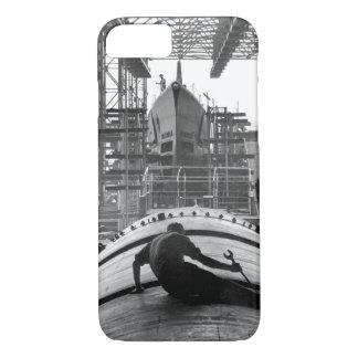 Man working on hull of U.S_war image iPhone 7 Case