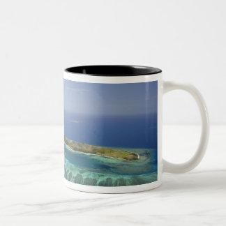 Mana Island and coral reef, Mamanuca Islands Two-Tone Coffee Mug