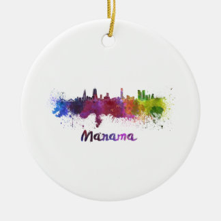 Manama skyline in watercolor round ceramic ornament