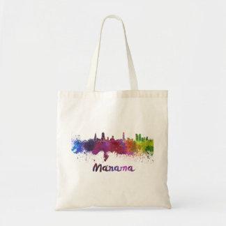 Manama skyline in watercolor tote bag