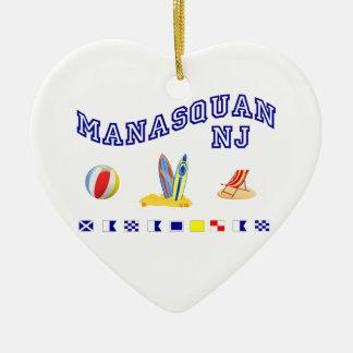 Manasquan NJ - Maritime Spelling Ceramic Heart Ornament