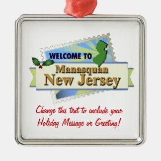 Manasquan NJ Silver-Colored Square Ornament