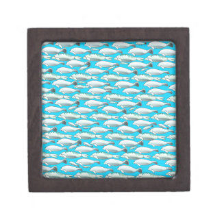 Manatee and Dugong pattern in blue Premium Keepsake Boxes