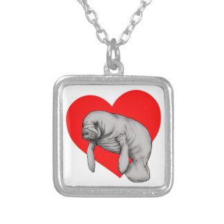 manatee art silver plated necklace