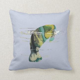 Manatee art throw pillow