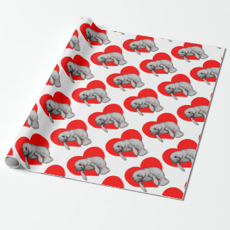 manatee art wrapping paper