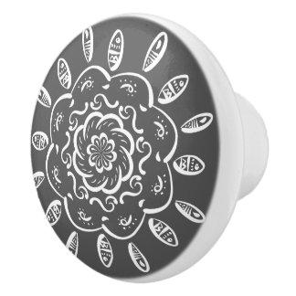 Manatee Mandala Ceramic Knob