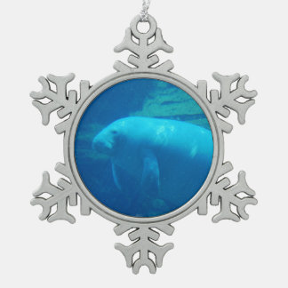 Manatee Pewter Snowflake Ornament
