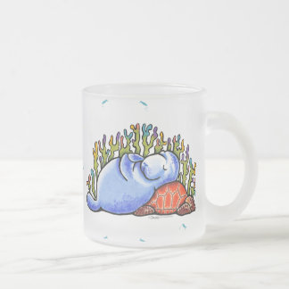 Manatee Sea Turtle Fishes Under the Sea Frosted Glass Coffee Mug