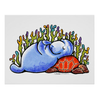 Manatee Sea Turtle Slumber Party by Off-Leash Art Poster