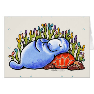 Manatee Sea Turtle Slumber Party Custom Message Card