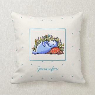 Manatee Sea Turtle Slumber Party Personalized Throw Pillow