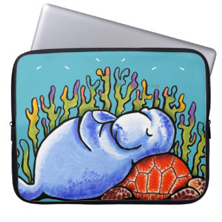 Manatee Sea Turtle Under Ocean Scene Blue Computer Sleeves