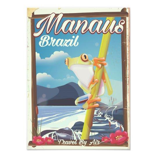 Manaus Brazil vintage travel poster