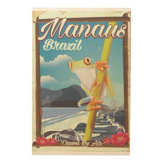 Manaus Brazil vintage travel poster Wood Prints