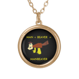 Manbeaver equation gold plated necklace