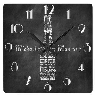 Mancave Blackboard Retro Chalk Personalized Square Wall Clock
