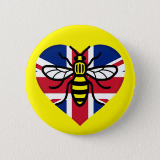 Manchester Bee and Union Jack Heart Solidarity 2 Inch Round Button