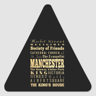 Manchester City of United Kingdom Typography Art Triangle Sticker