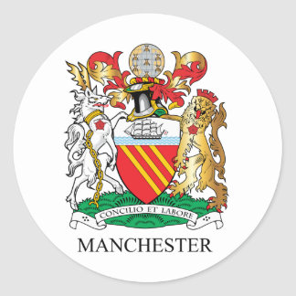 Manchester coat of arms classic round sticker