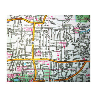 MANCHESTER, CT Vintage Map Canvas Print