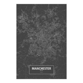 Manchester, England (white on black) Poster