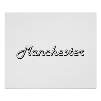 Manchester New Hampshire Classic Retro Design Poster