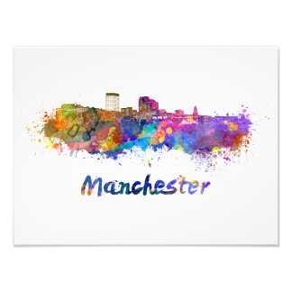 Manchester NH skyline in watercolor Photo Print