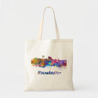 Manchester NH skyline in watercolor Tote Bag