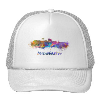 Manchester NH skyline in watercolor Trucker Hat