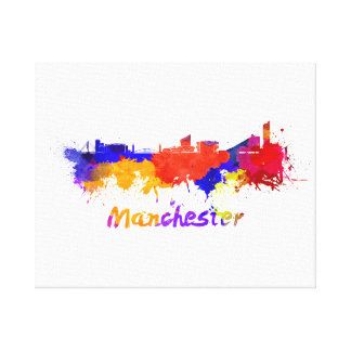 Manchester skyline in watercolor canvas print