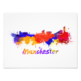 Manchester skyline in watercolor photo art