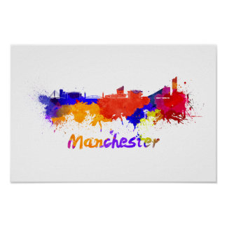 Manchester skyline in watercolor poster