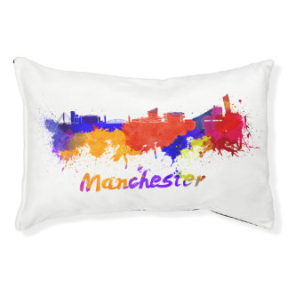 Manchester skyline in watercolor small dog bed